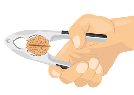 cropped: illustration of a hand using a nutcracker to crack a nut isolated on white background Illustration
