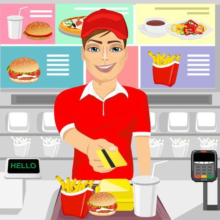 returning: illustration of male fast food restaurant employee returning a credit card