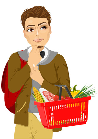 Thoughtful young man holding a shopping basket full of food including fresh fruit, vegetables, meat Illustration