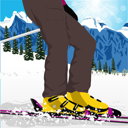 legs up: womans legs in ski boots with spray of snow. Close up of ski low angle Illustration