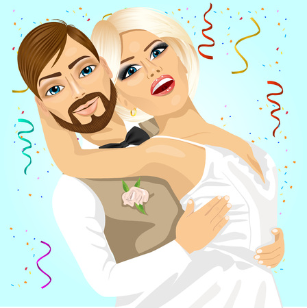outdoor wedding: Blonde bride and groom having a romantic moment on their wedding day isoalted over blue background Illustration