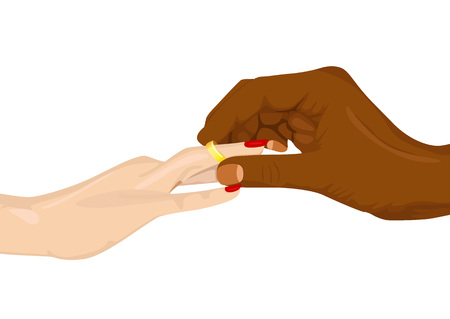 commitments: cropped portrait of african american inserting an engagement ring into female finger