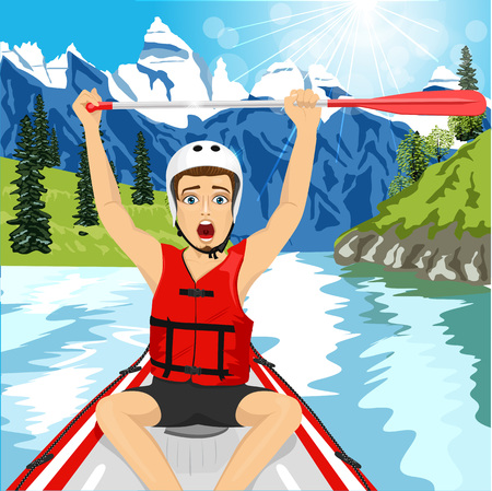 raft: Young man in a raft boat crossing finish raising his paddle. Whitewater rafting concept