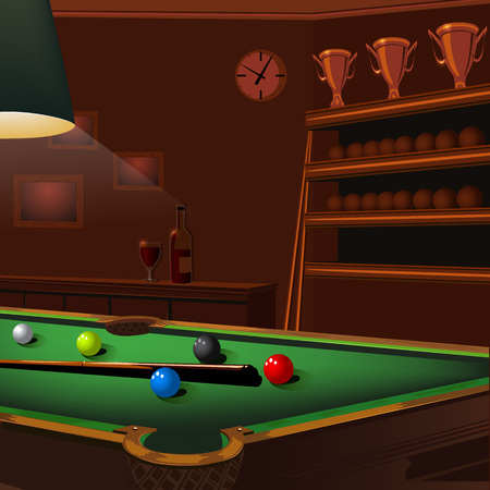 night club interior: Entertainment room in luxury mansion with billiard balls composition on green pool table