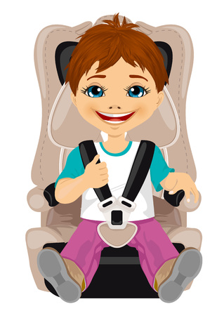 strapped: little boy strapped to a car seat isolated on white background