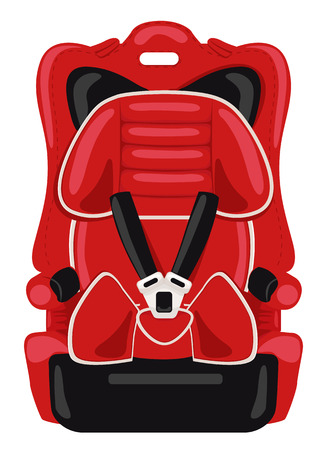 car seat: red child car seat isolated on white background Illustration