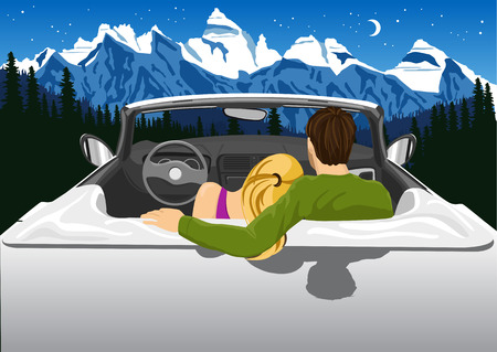 convertible car: Beautiful young couple sitting in white convertible car hugging and looking at the mountains under the night sky