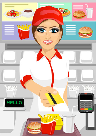 portrait of female cashier at fast food restaurant returning a credit card