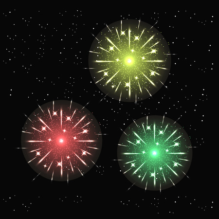 fourth birthday: illustration of Fireworks light up the sky with dazzling display