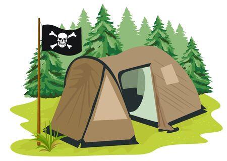 coniferous forest: ilustración de una tienda de campaña de color marrón con la bandera pirata que se coloca en un claro en el fondo de los bosques de coníferas Vectores