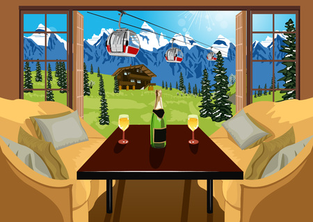 chalet: Interior of a hotel room with two sofas and a table with a bottle of champagne and two wine glasses. Ski resort in summer with chalet, cable car and mountans. Illustration