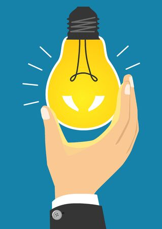illustration of glowing yellow light bulb after being turned on Illustration