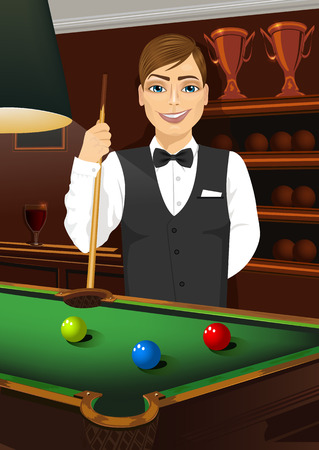 caucasian man: handsome caucasian man holding cue stick standing behind a pool table Illustration