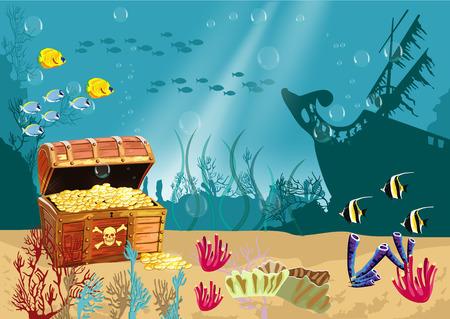 onderwater landschap met een open schatkist en gezonken piratenschip Stock Illustratie