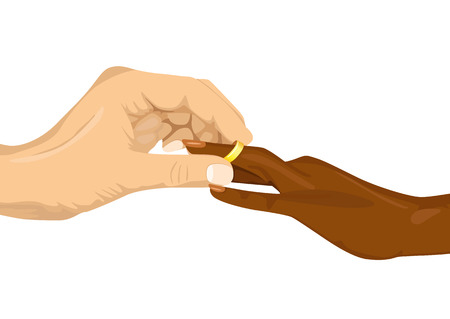 ring finger: Close up portrait of male hand inserting an engagement ring into finger of african american woman