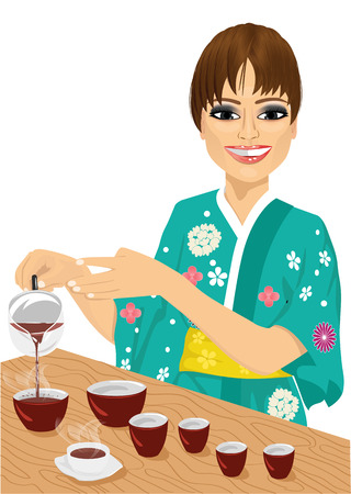 pouring: attractive woman in kimono pouring tea isolated on white background Illustration