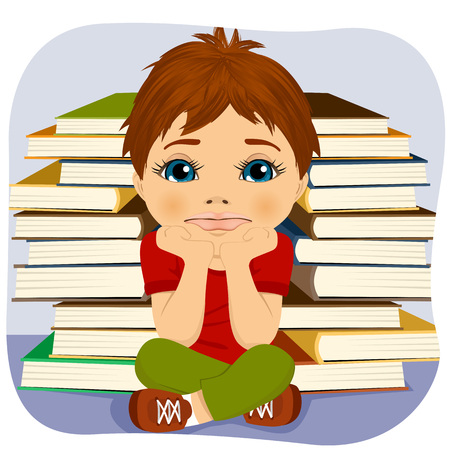 student with books: Tired little boy thinking deeply about something with hands on chin sitting near two stacks of books