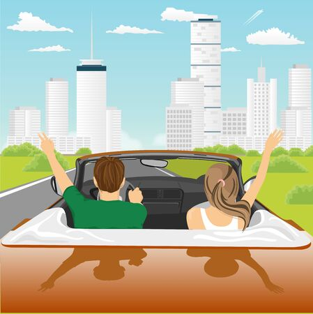 arms raised: Freedom - happy free couple driving in cabriolet car cheering joyful with arms raised. Friends entering the city on a sunny day. Illustration