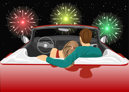 young couple sitting in red convertible car enjoying a fireworks show