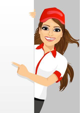 portret van vrouwelijke fast food restaurant werknemer met een lege banner