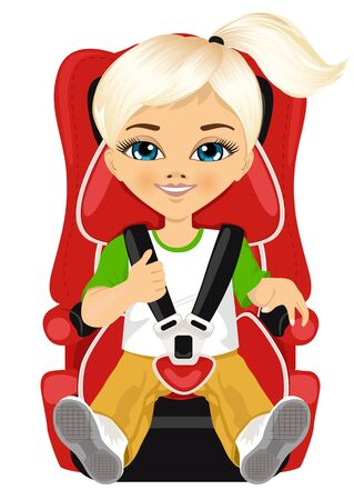 strapped: little girl strapped to a car seat isolated on white background