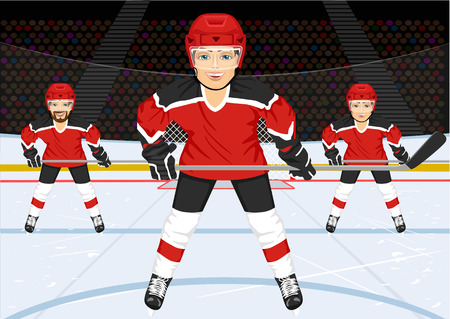 hockey rink: male ice hockey team standing in ice hockey rink in the arena