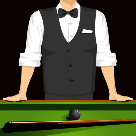 cropped: cropped portrait of man leaning on a pool table Illustration