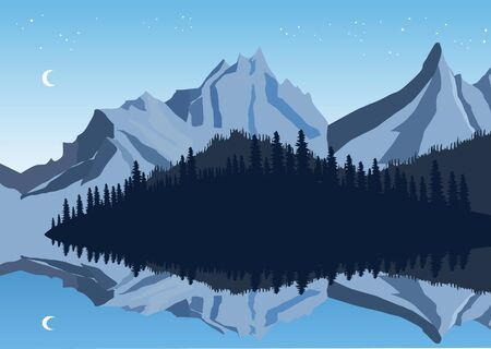 illustration of mountains and sky reflection in a lake with forest
