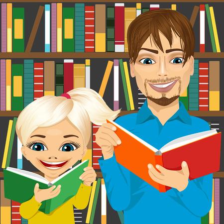 padre y su hija la lectura de libros interesantes en la biblioteca cerca de estantería