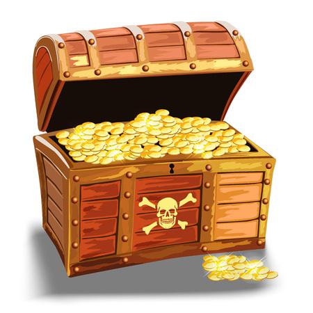 cofre del tesoro: pecho de madera pirata con monedas de oro aisladas sobre el fondo blanco