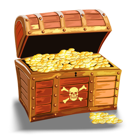 wooden pirate chest with golden coin isolated over white background