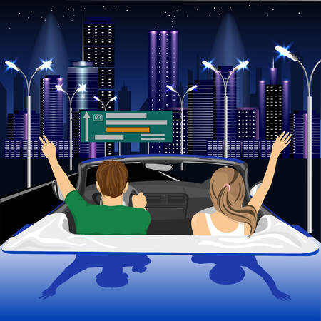 arms raised: Freedom - happy free couple driving in cabriolet car in night city cheering joyful with arms raised