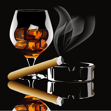 Cognac et cigare avec de la fumée sur fond noir Vecteurs