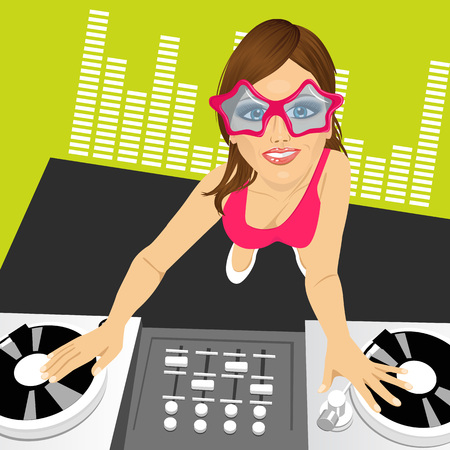 disc jockey: Top view portrait of of female disc jockey with disco glasses mixing music using her turntables