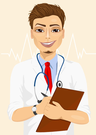 confident: Portrait confident male doctor medical professional taking patient notes. Positive face expression