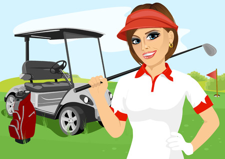 Portrait of pretty female golfer with golf club standing near cart Vectores
