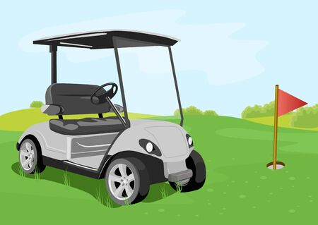 illustration of a golf cart and red flag on a golf course