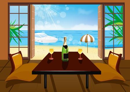 Hotel room and beach landscape - vacation concept background Ilustração Vetorial