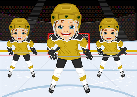 hockey rink: A young hockey team in uniform standing in ice hockey rink in the arena