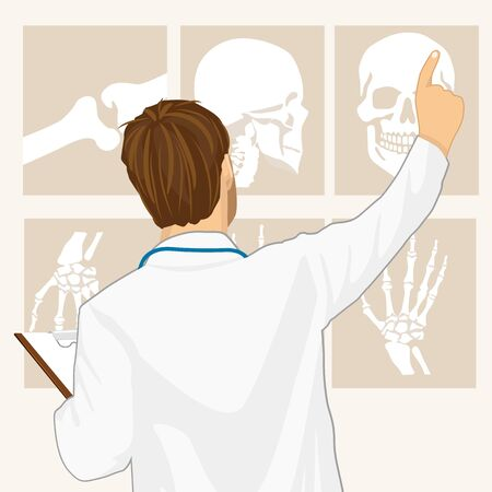 male doctor pointing on tomography, rear view Illustration