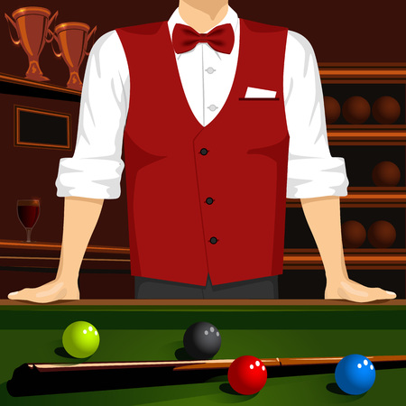 cropped: cropped portrait of man in red formal vest, bow tie and a white shirt leaning on a pool table with cue stick and colorful billiard balls