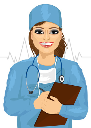 taking notes: female doctor or nurse in blue scrubs with stethoscope taking notes isolated on white background Illustration