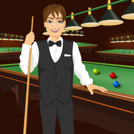 billiards room: handsome man in black formal vest holding cue stick standing near a pool table with colorful billiard balls on it Illustration