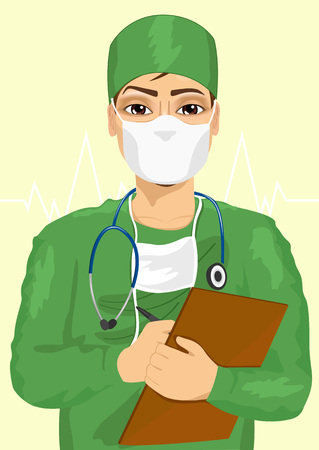 taking notes: handsome male doctor or nurse in green scrubs and face mask taking notes isolated on white background