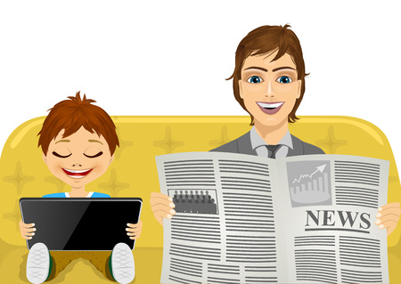 latest news: father reading the latest news on a newspaper and his son playing games on tablet pc - family concept