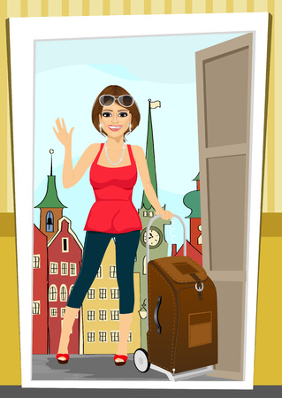 home: positive woman comes back home from vacation standing