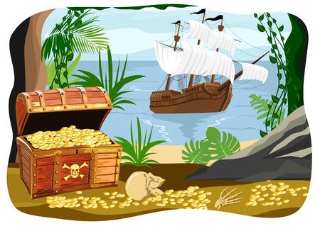 monedas antiguas: barco pirata visible desde una cueva llena de tesoros Vectores