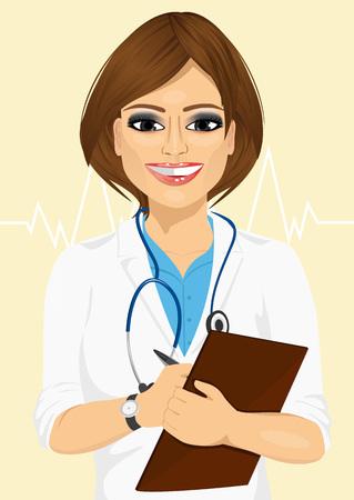 patient notes: Portrait confident female doctor medical professional taking patient notes. Positive face expression