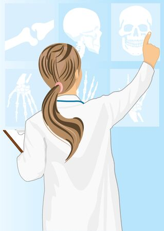 Medical doctor woman pointing on tomography, rear view