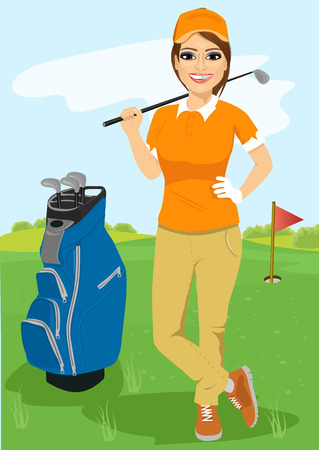 full length portrait of pretty female golfer with golf club standing near blue bag Illusztráció